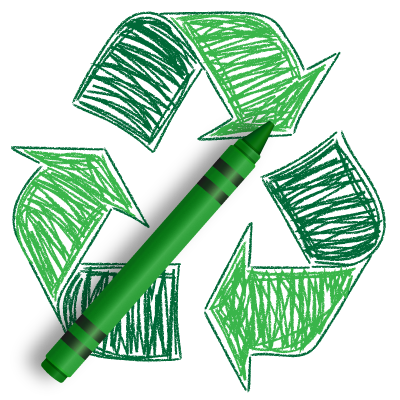 Recycle-Symbol-with-Crayon-3D-400x400